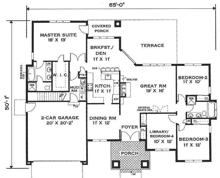 1 Story Home Floor Plan Elegant One Story Home 6994 4 Bedrooms and 2 5 Baths