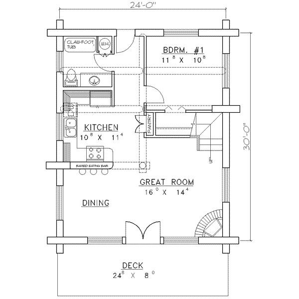 1040 square feet 1 bedrooms 1 bathroom log homes house plans 0 garage 14798