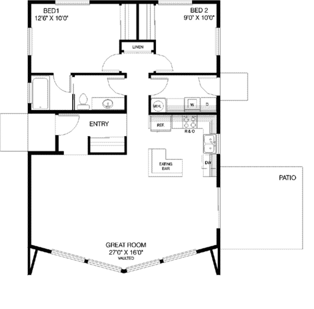 1040 square feet 2 bedrooms 1 bathroom contemporary house plans 0 garage 9301