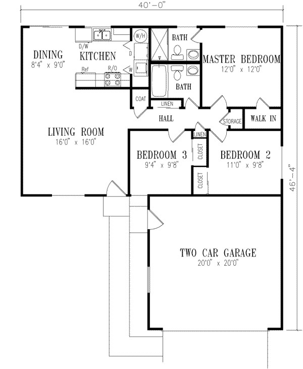 1040 square feet 3 bedrooms 2 bathroom ranch house plans 2 garage 14399