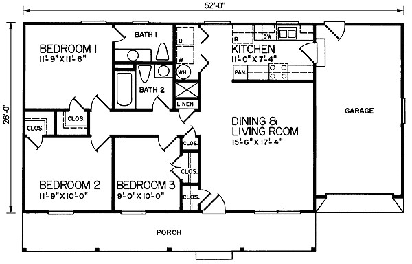 1040 square feet 3 bedrooms 2 bathroom ranch house plans 1 garage 10347