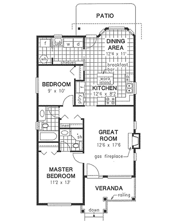 1000 square feet 2 bedrooms 2 bathroom traditional house plans 0 garage 1019