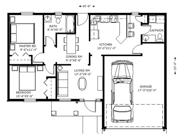 1100 square feet 2 bedrooms 1 5 bathroom traditional house plans 2 garage 36066