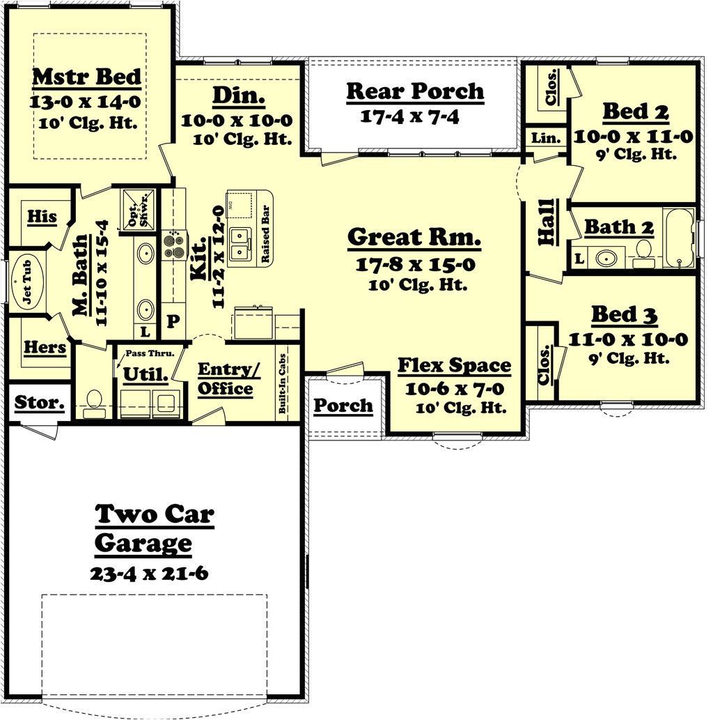 1500 square feet 3 bedrooms 2 bathroom traditional house plans 2 garage 36445