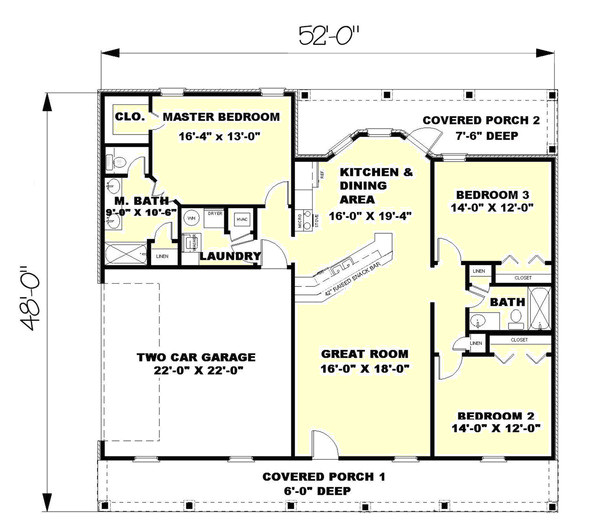 1500 square feet 3 bedrooms 2 bathroom traditional house plans 2 garage 19767