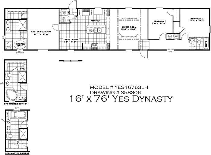 16 x 80 mobile home floor plans