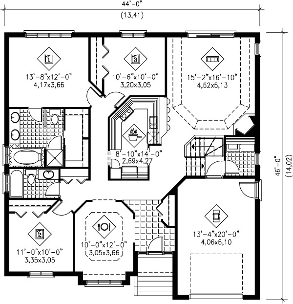 1600 square feet 3 bedrooms 2 bathroom traditional house plans 0 garage 1543