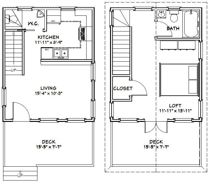 16×20 Tiny House Floor Plans 16×20 House 16x20h2 569 Sq Ft
