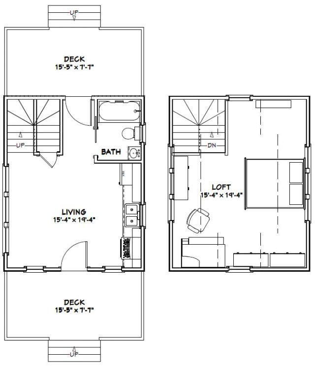 16×20 Tiny House Floor Plans 16×20 Tiny House 574 Sq Ft Pdf
