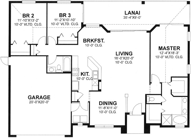 1700 sq ft home 1 story 3 bedroom 2 bath house plans plan73 122