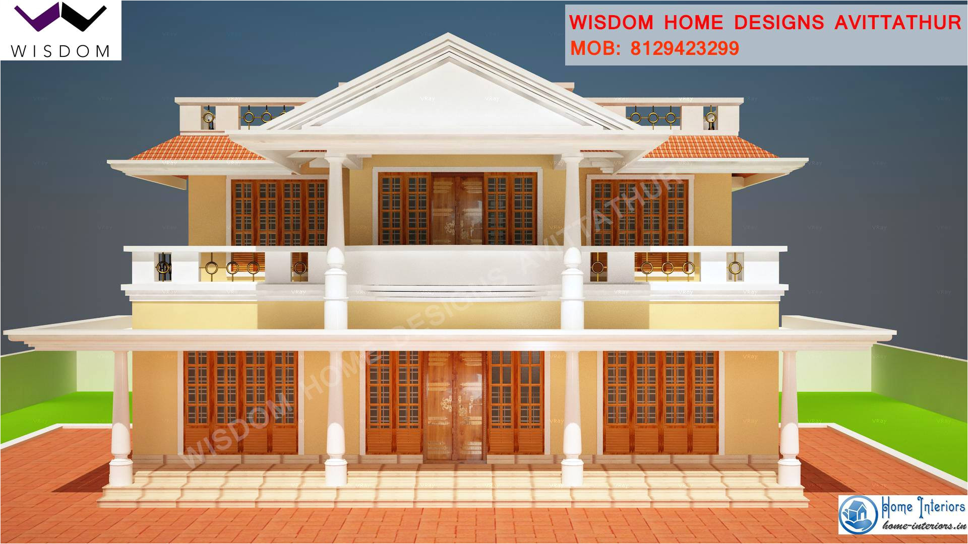 1900 sq ft slop roof style kerala home design