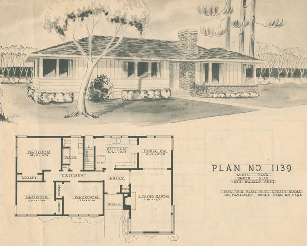 1950s Home Floor Plans 1950 Modern Ranch Style House Plan Mid Century Home