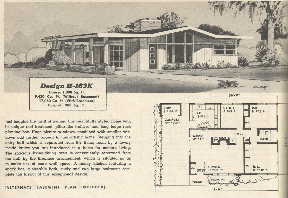 1950s Home Floor Plans Vintage House Plans 163