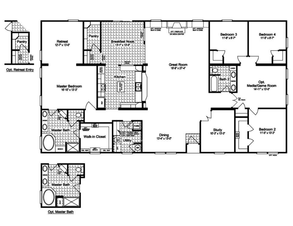 1998 Fleetwood Mobile Home Floor Plans 1998 Oakwood Mobile Home Floor Plan