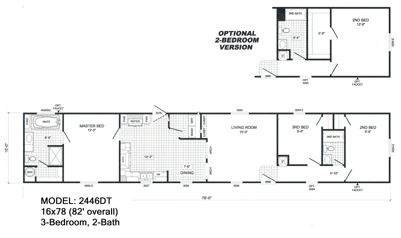 9093 3 bedroom 2 bath single wide mobile home floor plans