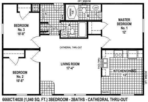 2 bedroom mobile home floor plans