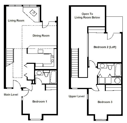 floor plan two bedroom loft