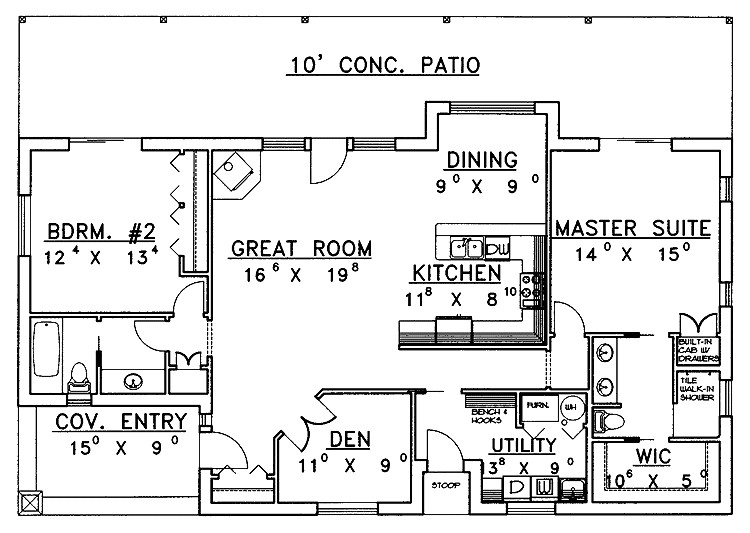 2 bedroom ranch house plans