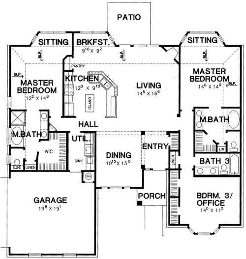 double master bedroom house plan 3056d