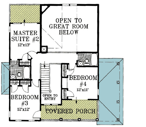 beach house plan with two story great room 13034fl