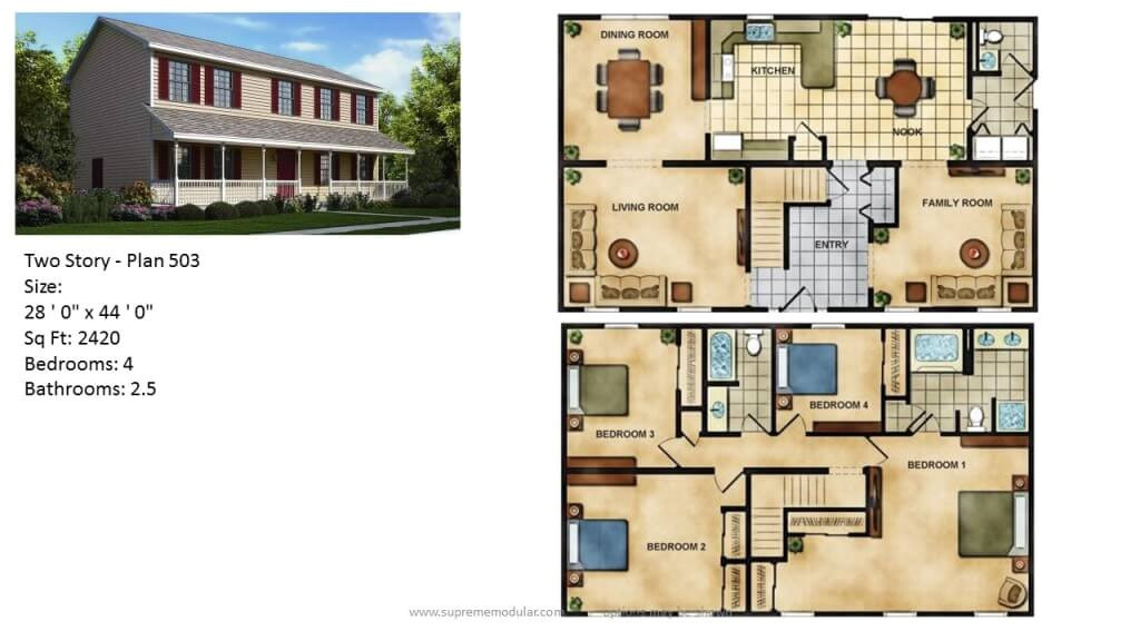 modular home two story plans