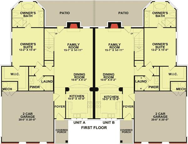 2 unit townhouse design with back patio 83124dc