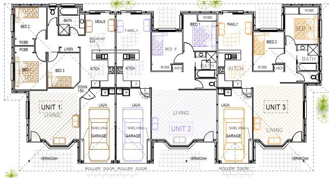 336 duplex 3bed house plans