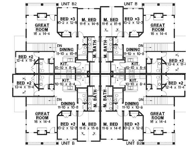 8 unit house plan with corner decks 18511wb