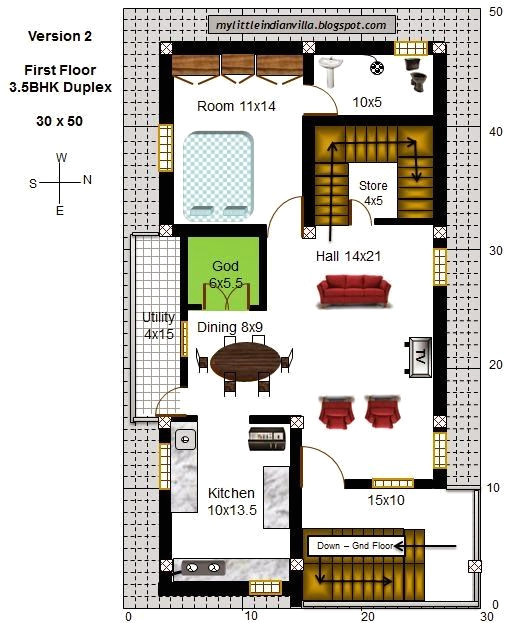 east facing house plans for 40 x 50 site