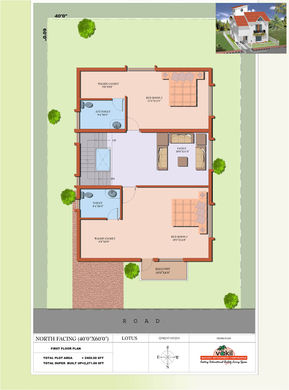 20×40 House Plans north Facing House Plan for 20×40 Site Joy Studio Design Gallery