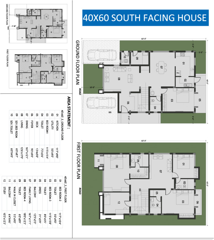 20 x 40 house plans south facing