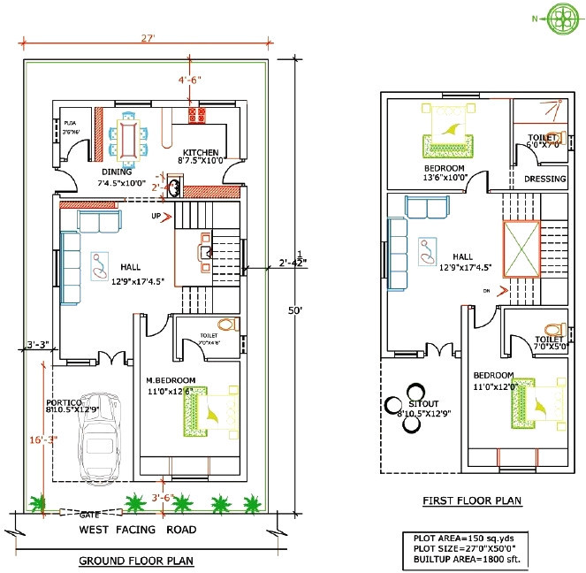 house plan for 20x40 site south facing