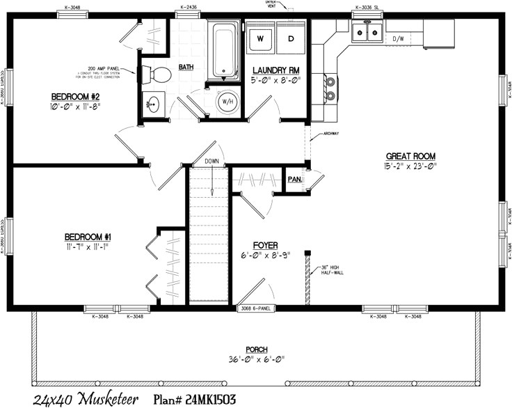 24 x 40 2 bedroom house plans