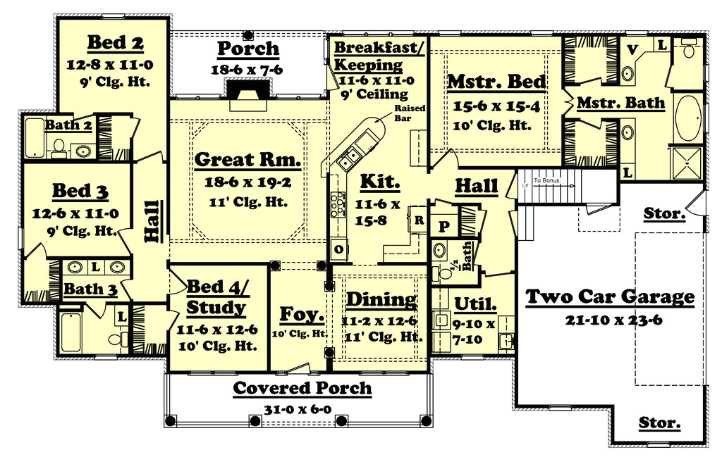 2500 square feet 4 bedrooms 3 5 bathroom traditional house plans 2 garage 32593