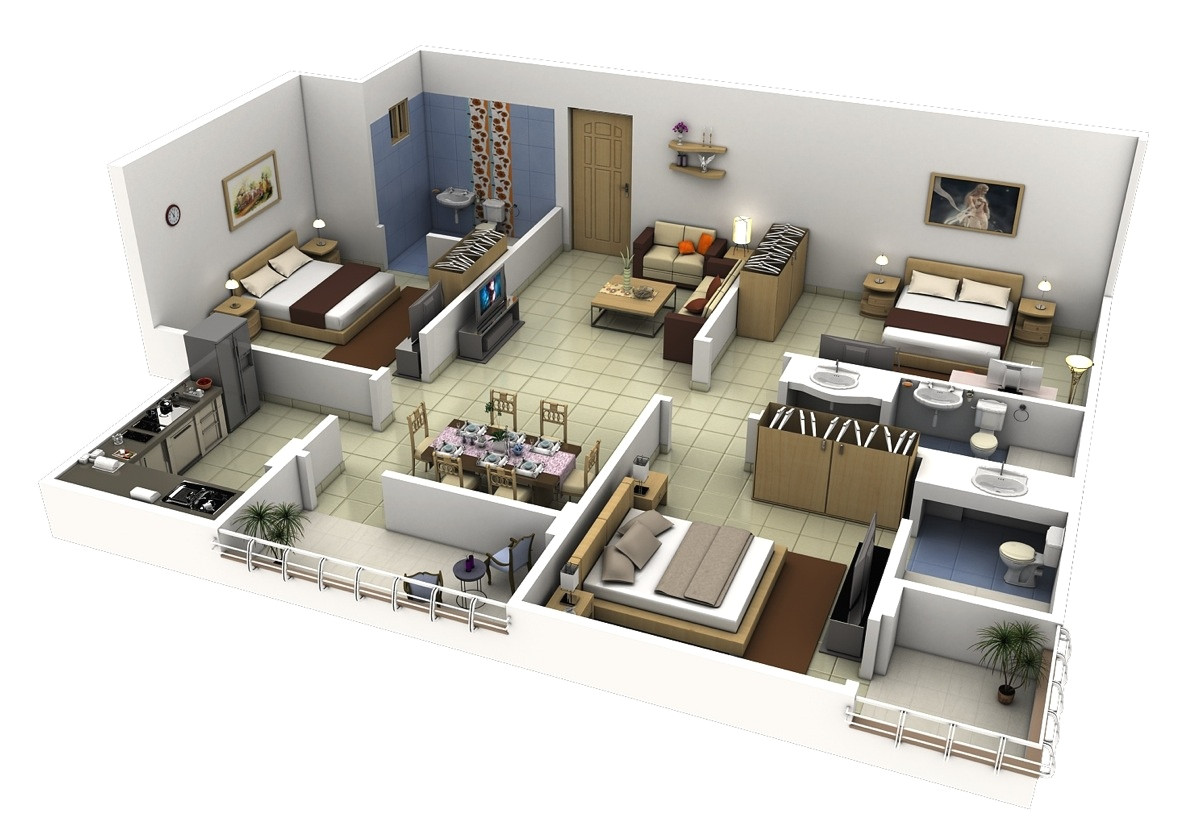 3 bedroom apartment house 3d layout floor plans