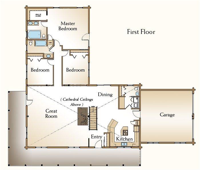 3 bedroom log cabin floor plans