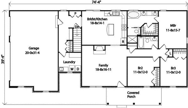 3 car garage ranch house plans