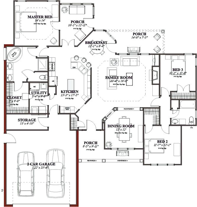 one story house plans under 3000 sq ft