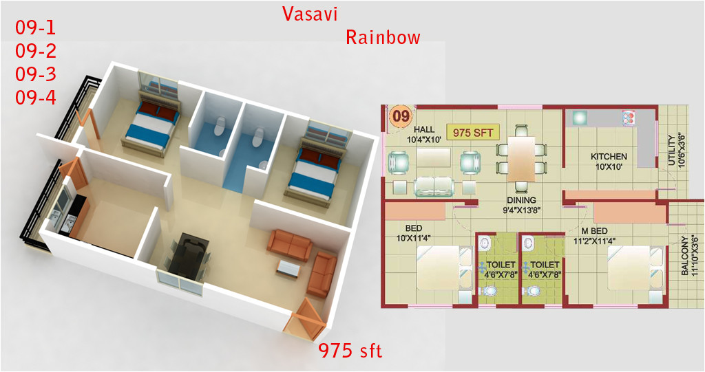 3d house plans in 1000 sq ft