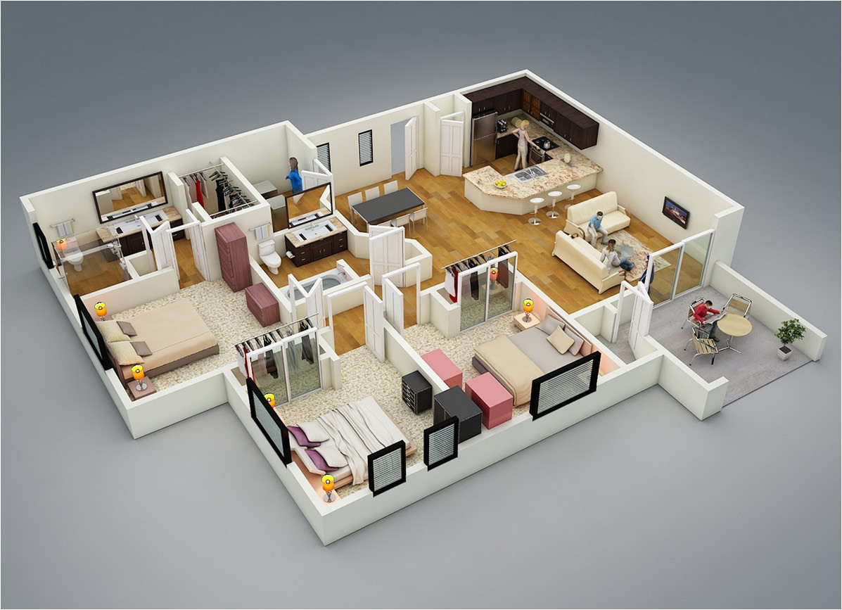 3d Plan Home 25 More 3 Bedroom 3d Floor Plans