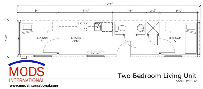 40 foot two bedroom mod living unit