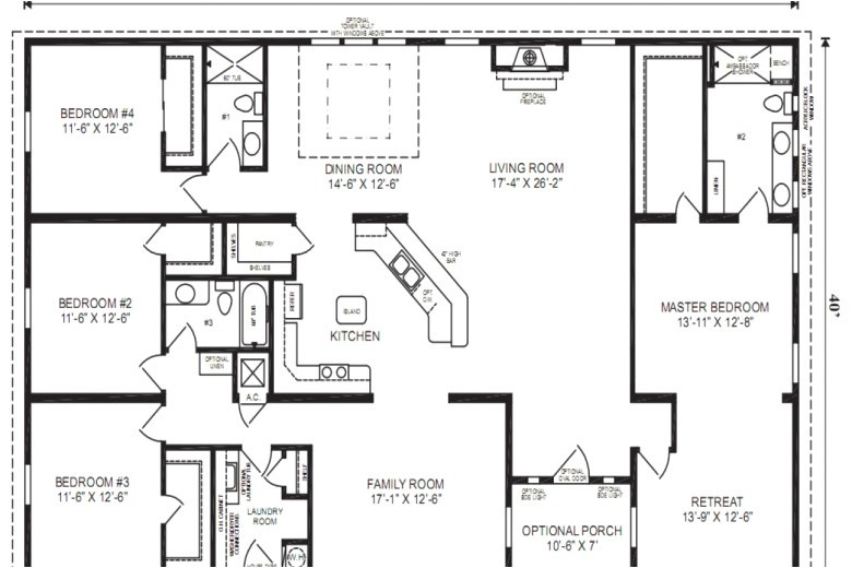 5 bedroom triple wide mobile home floor plans
