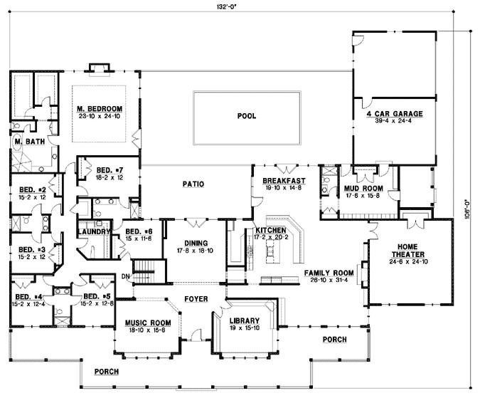 7028 sq ft home 1 story 7 bedroom 6 bath house plans plan21 994