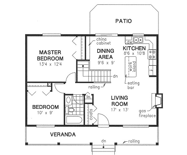 900 sq ft home 1 story 2 bedroom 1 bath house plans plan40 129