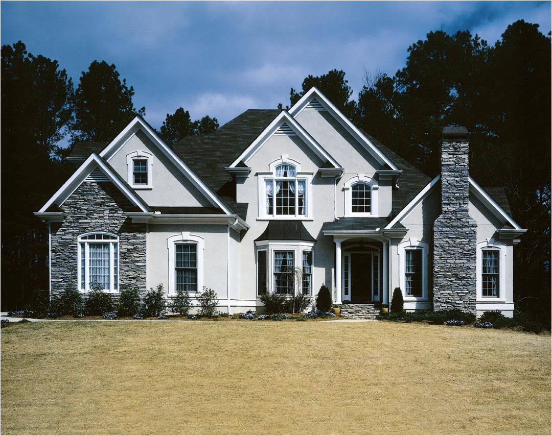amazing exterior frank betz house plans with stone wall accent and cinder black roof plus double hung glass window design