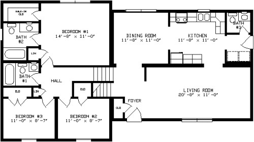 3 level split floor plans