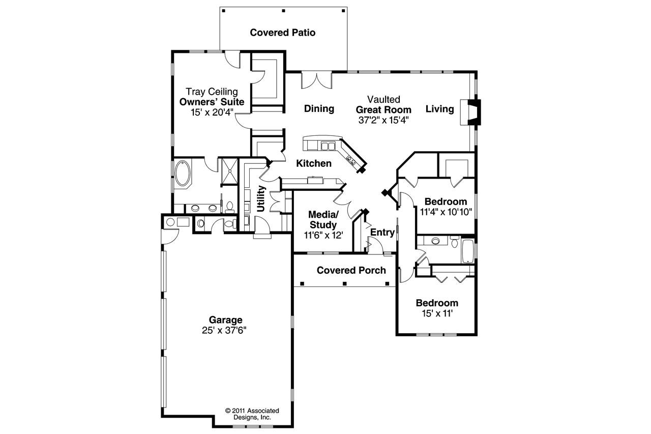 Associated Designs Home Plans Ranch House Plans Hills Creek 10 573 associated Designs