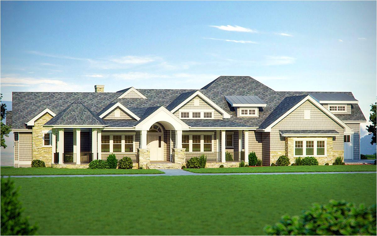five bedroom craftsman home plan 95007rw