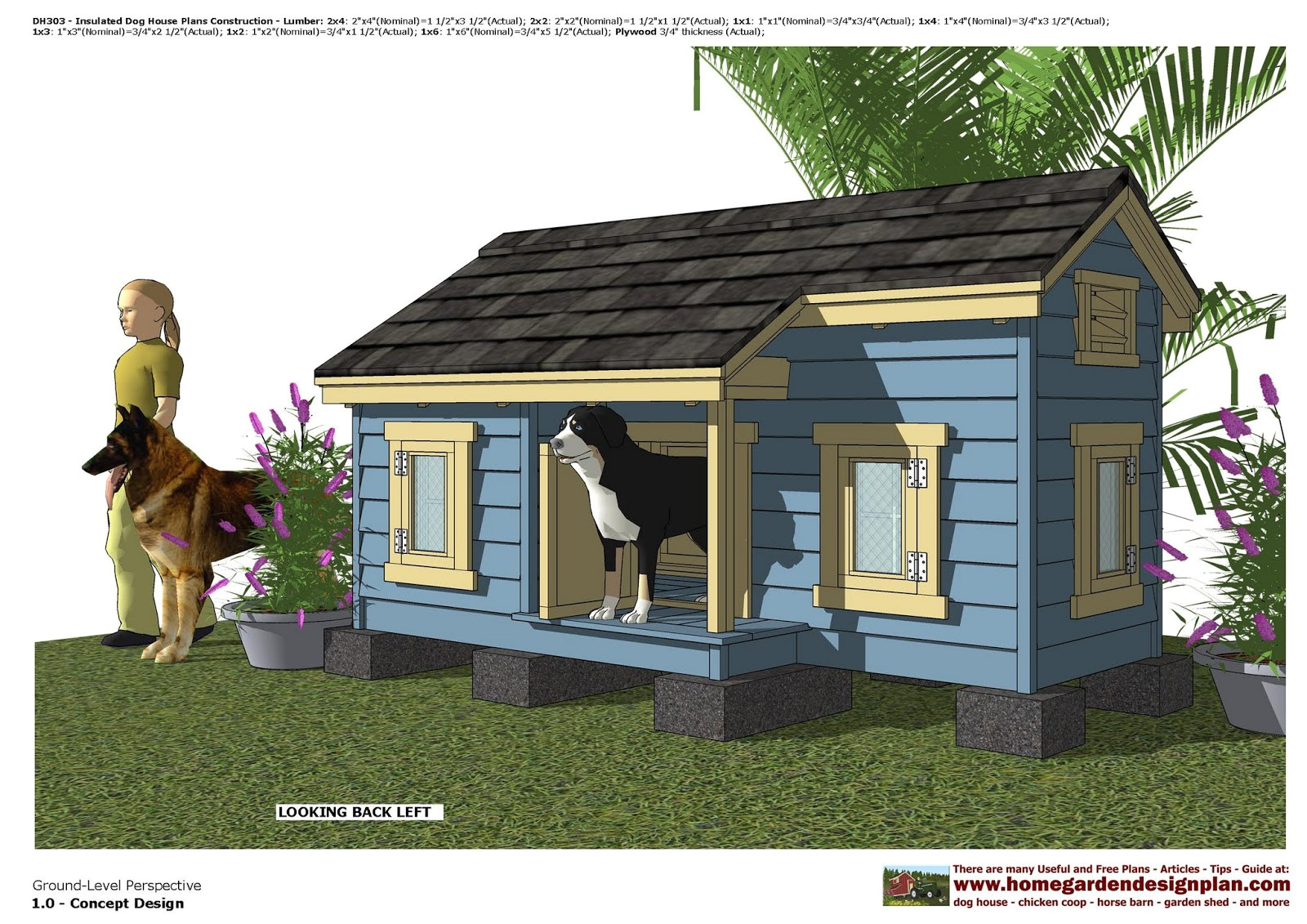 porch barn roof style dog house project plans pet size up to 150