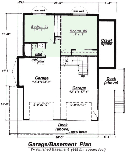 ranch with finished basement house plans